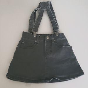 LittleElevenParis gray jeans skirt & suspenders 4T